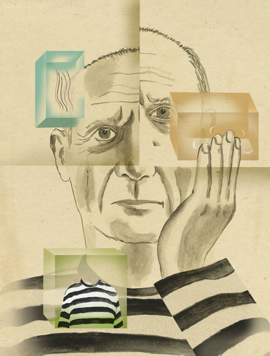 Illustration of Pablo Picasso, excerpted from Ellen Weinstein's Recipes for Good Luck, 2018. Published by Chronicle Books.
