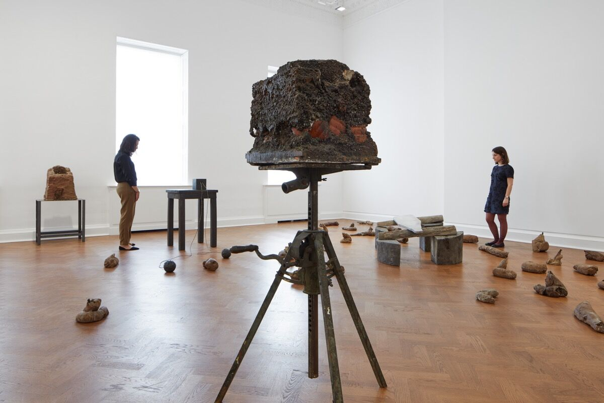 Installation view of Joseph Beuys,  Hirschdenkmäler (The Stag Monuments), 1982, at Galerie Thaddaeus Ropac, London, 2018. Courtesy of Galerie Thaddaeus Ropac.