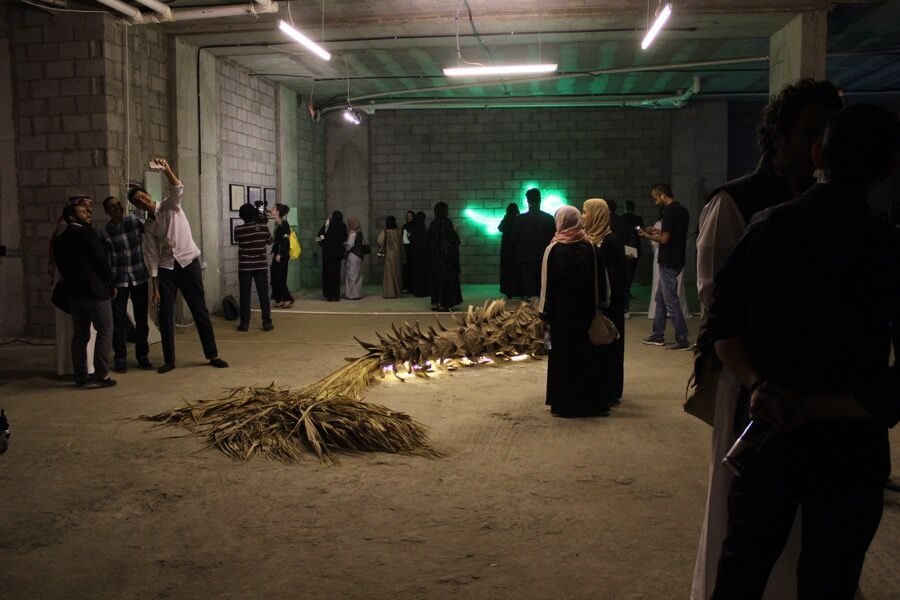 Installation view of Ahaad Alamoudi's Nakhla. Photo by Myrna Ayad.