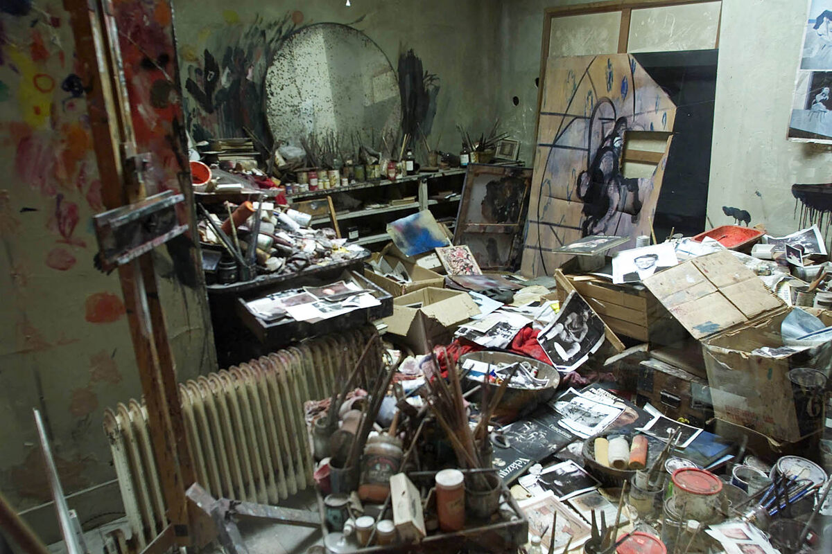 London studio of Irish artist Francis Bacon as reconstructed in Dublin for an exhibition at the Hugh Lane Gallery, 2001. Photo by Chris Bacon/PA Images via Getty Images.
