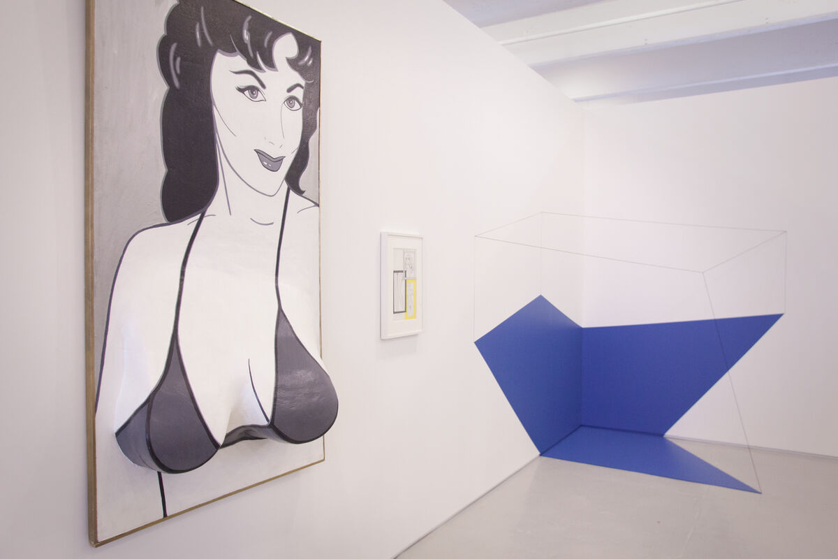 Work by Marjorie Strider and Lydia Okumura at Broadway 1602, Independent 2015. Photo by Nick Simmons for Artsy