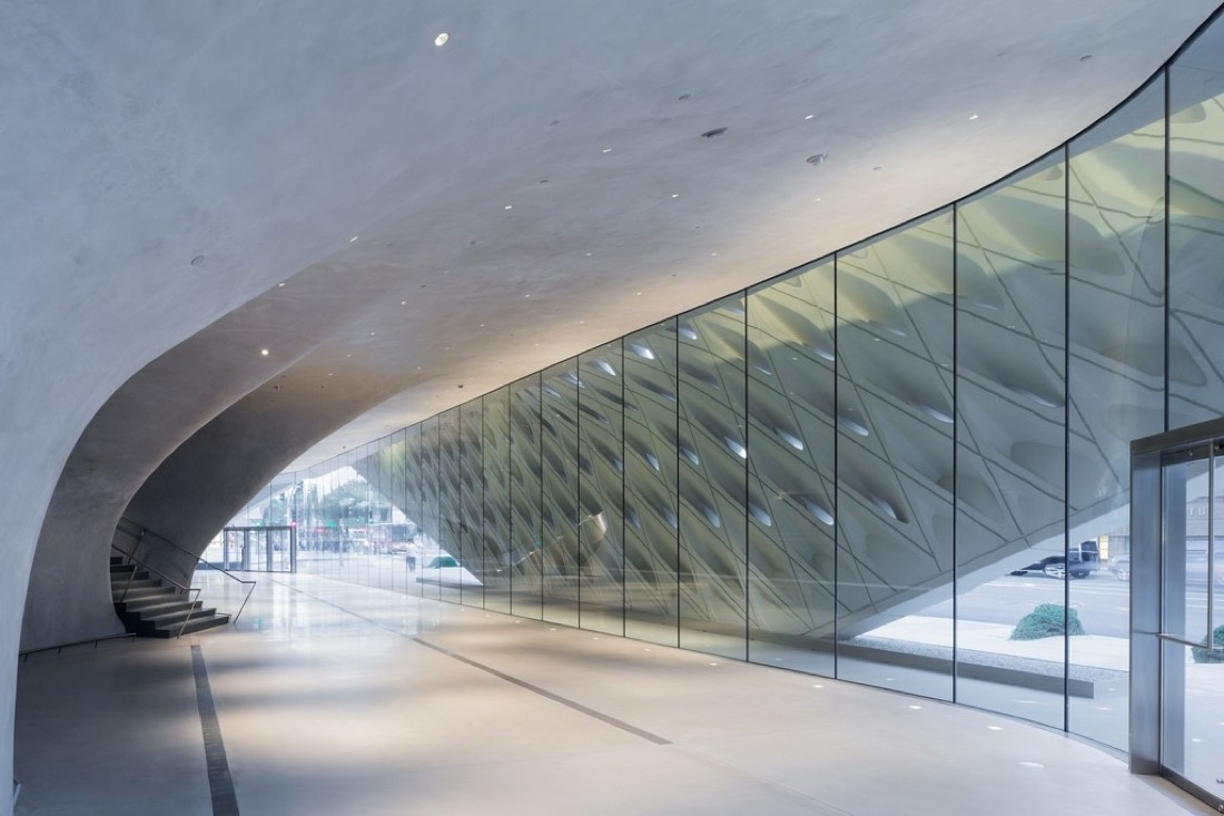 The Broad museum's lobby with interior veil; photo by Iwan Baan.Courtesy of The Broad and Diller Scofidio + Renfro.
