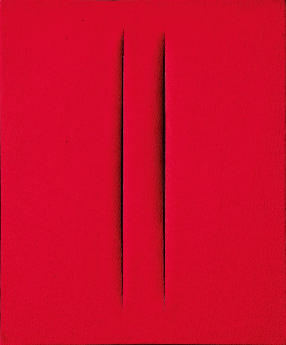 Lucio Fontana, Concetto Spaziale, Attese, 1964, on view at Cardi Gallery. Courtesy of TEFAF Maastricht.