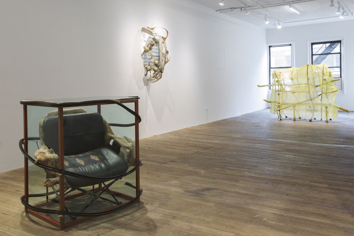 """Installation view of Jessi Reaves, """"Jessi Reaves II,"""" at Bridget Donahue, New York, 2019. Courtesy of Bridget Donahue."""
