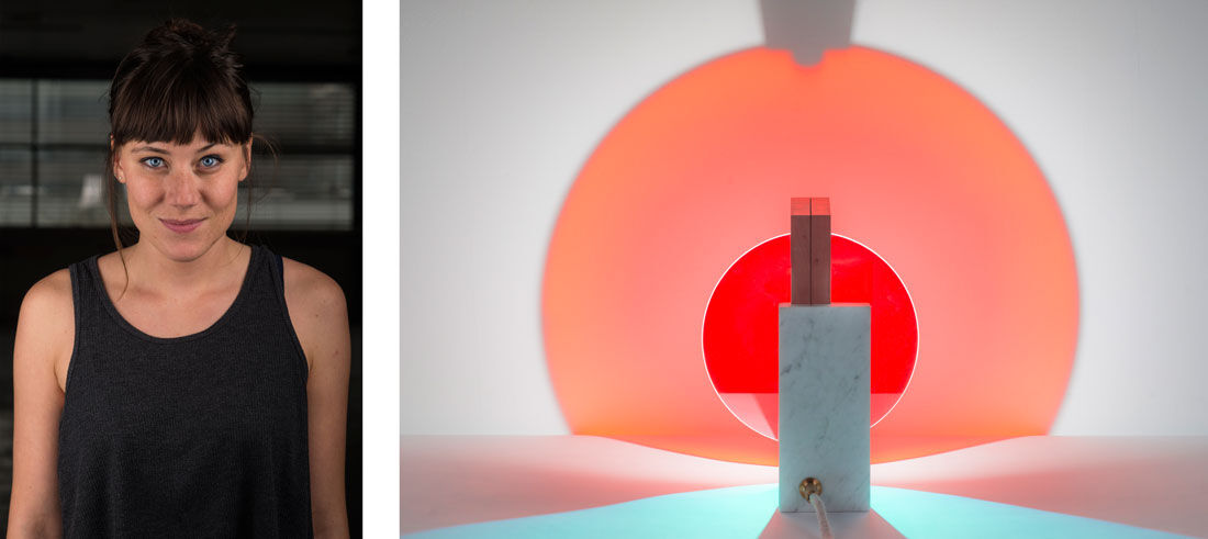 Portrait of Éléonore Delisse and photo of her Day & Night light, 2014, by Laurids Gallée, courtesy of Éléonore Delisse.