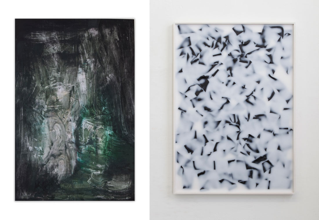 Lucas Jardin, Augmn, 2014, and Andy Boot, Untitled (Black), 2012, courtesy Private Collection, Belgium