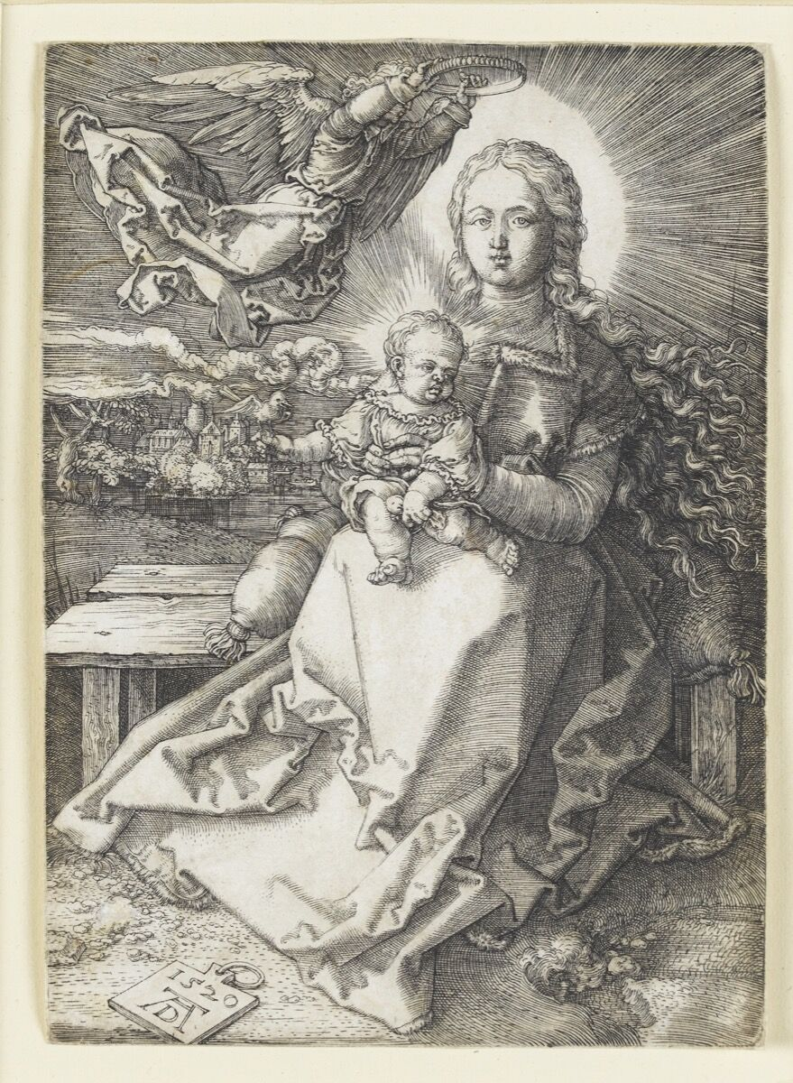 Albrecht Dürer, Mary crowned by an angel, 1520, copperplate engraving. Staatsgalerie Stuttgart, Graphische Sammlung.