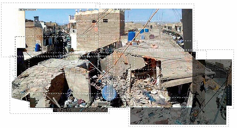 A collage pieced together from individual frames extracted from the footage allowed Forensic Architecture to identify distinct features of the building that would later help find the building in a satellite image of Miranshah. On the left, closest to the videographer,  is a series of beams that fanned out in a radial pattern, and there is a distinctly visible higher building on the left side of the building near the bend in the road. Forensic Architecture with the collaboration of Situ Research. Courtesy of Forensic Architecture.