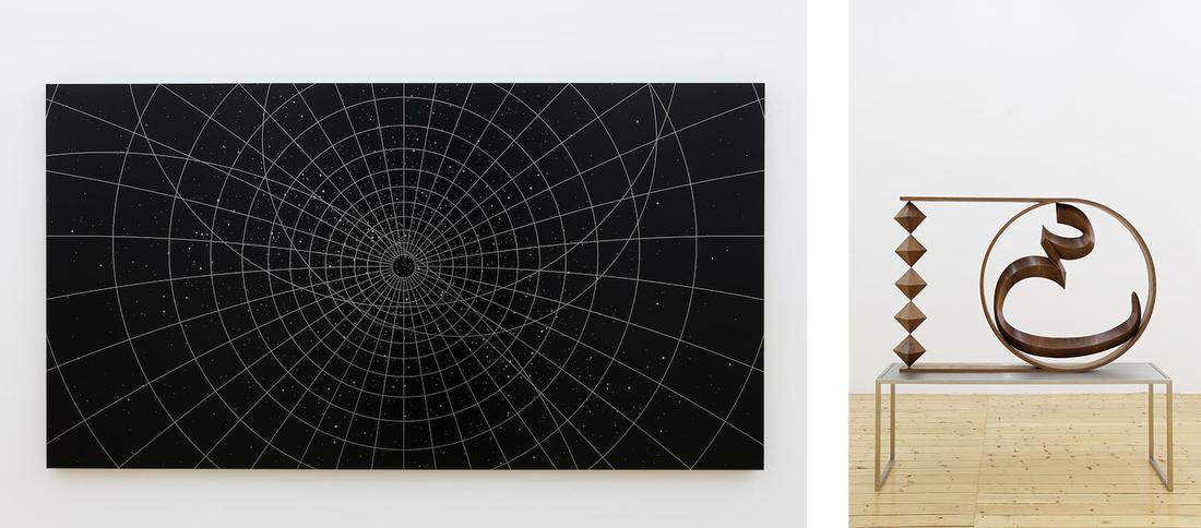 Left: Timo Nasseri, I'ajm, 2015. Right: Timo Nasseri, Unknown Letter 2, 2015. Photos courtesy of Sfeir-Semler Gallery.