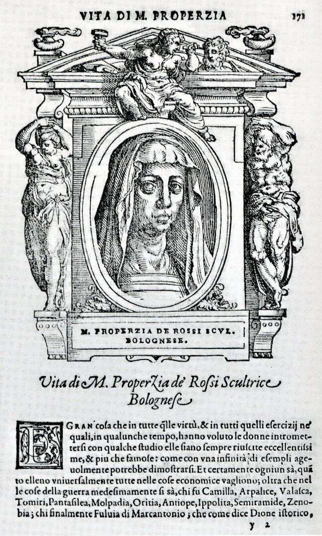 Portrait of Properzia de' Rossi in Giorgio Vasari, Le vite de' più eccellenti pittori, scultori e architettori, Firenze, 1568. Courtesy of Irene Graziani at the University of Bologna.