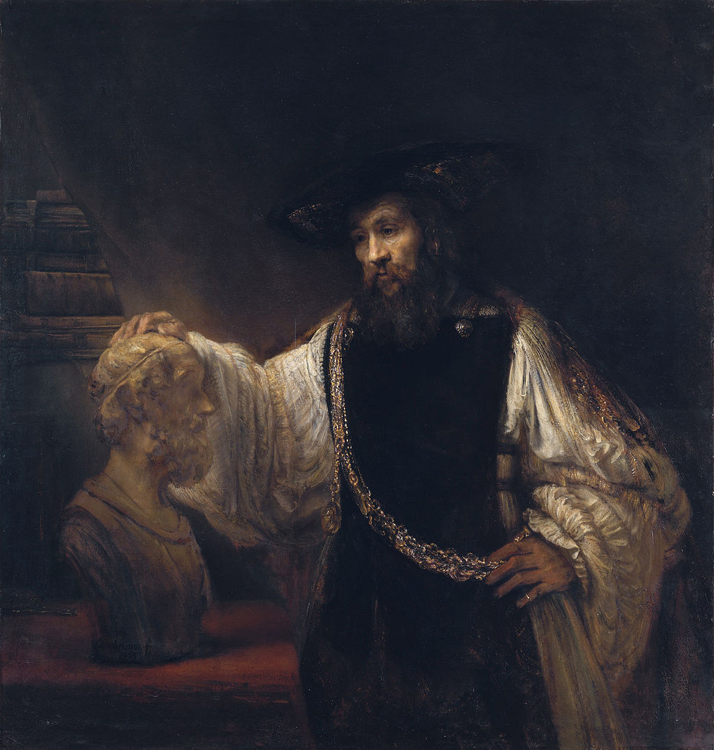 Rembrandt, Aristotle with a Bust of Homer, 1653. Image via Wikimedia Commons.
