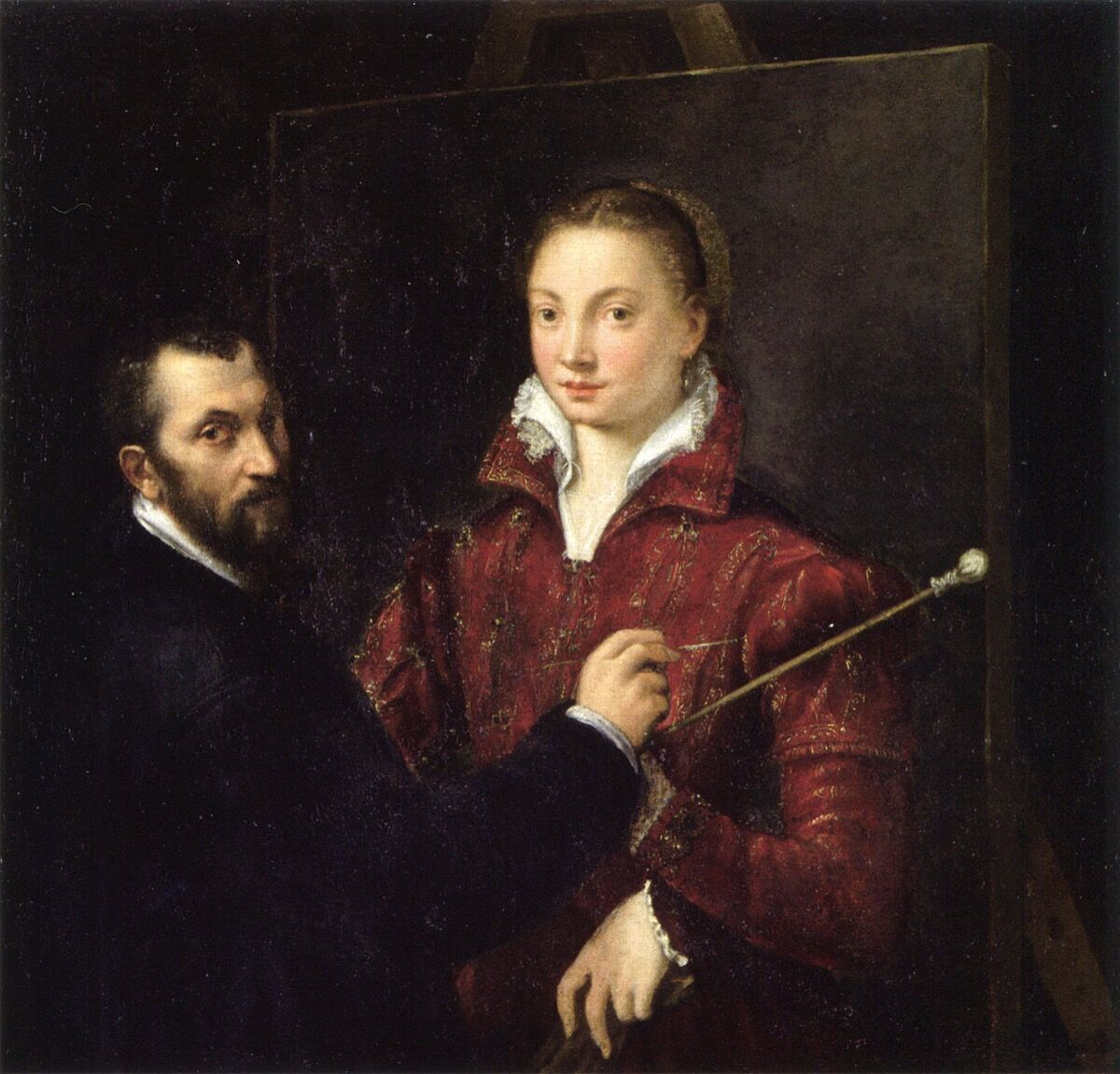 Sofonisba Anguissola, Self-portrait with Bernardino Campi, 1550.