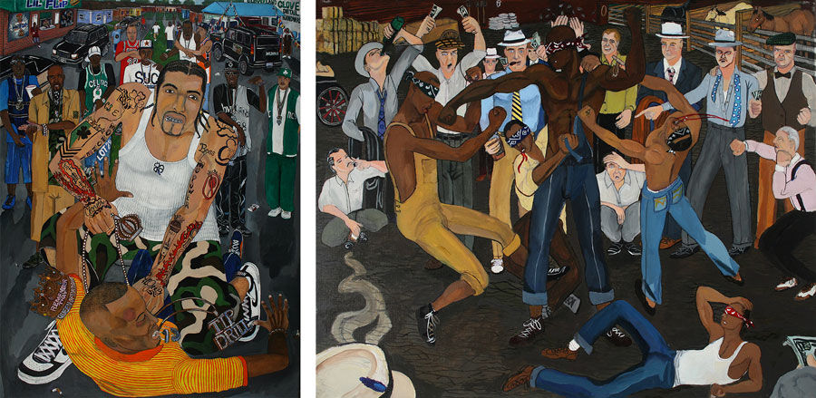 Left: El Franco Lee II, Lil' Flip vs T.I., 2005, giclee reproduction on canvas, 30 x 20 in. 76.2 x 50.8 cm. Right: El Franco Lee II, Battle Royal, 2007, giclee reproduction on canvas, 20 x 30 in. 50.8 x 76.2 cm. Courtesy of Marlborough Chelsea and the artist.