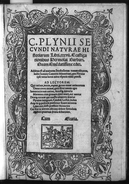 Title page of Pliny, Natural History, published 1519. Courtesy of the Library of Congress.