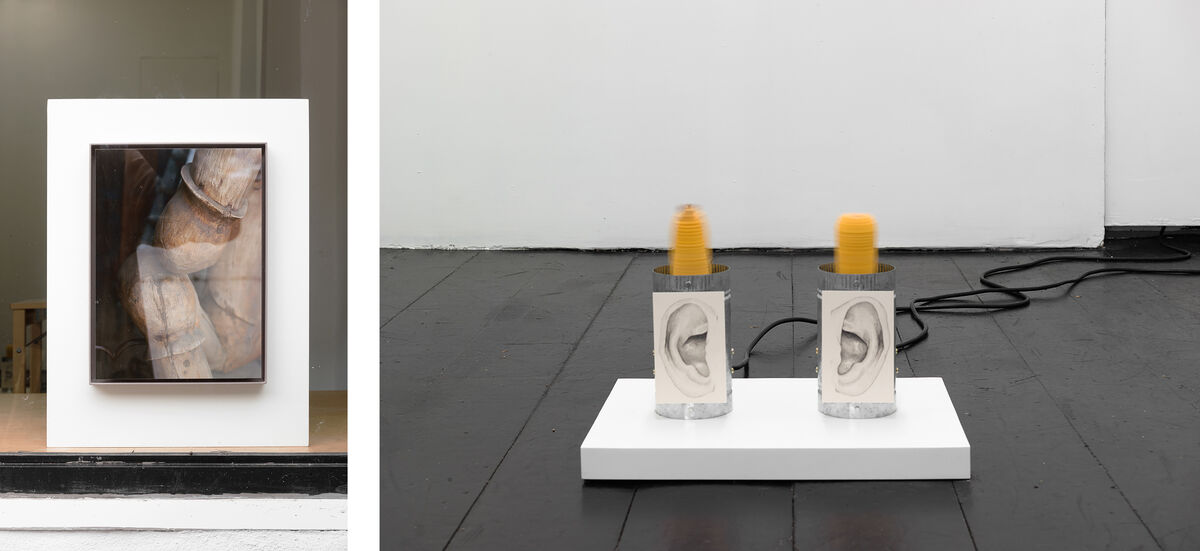 Left: Jesse Stecklow, The Multi-Directional Elevator, 2016; Right: Jesse Stecklow, Untitled (Elbow meets Knee), 2016. Images courtesy of the artist and Chapter NY.