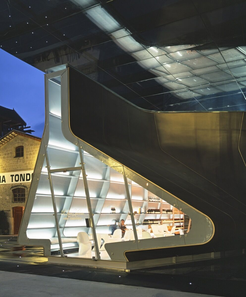 R. López de Heredia Pavilion, Haro, Spain, 2006. Photo by Hélène Binet. Courtesy of Zaha Hadid Architects.