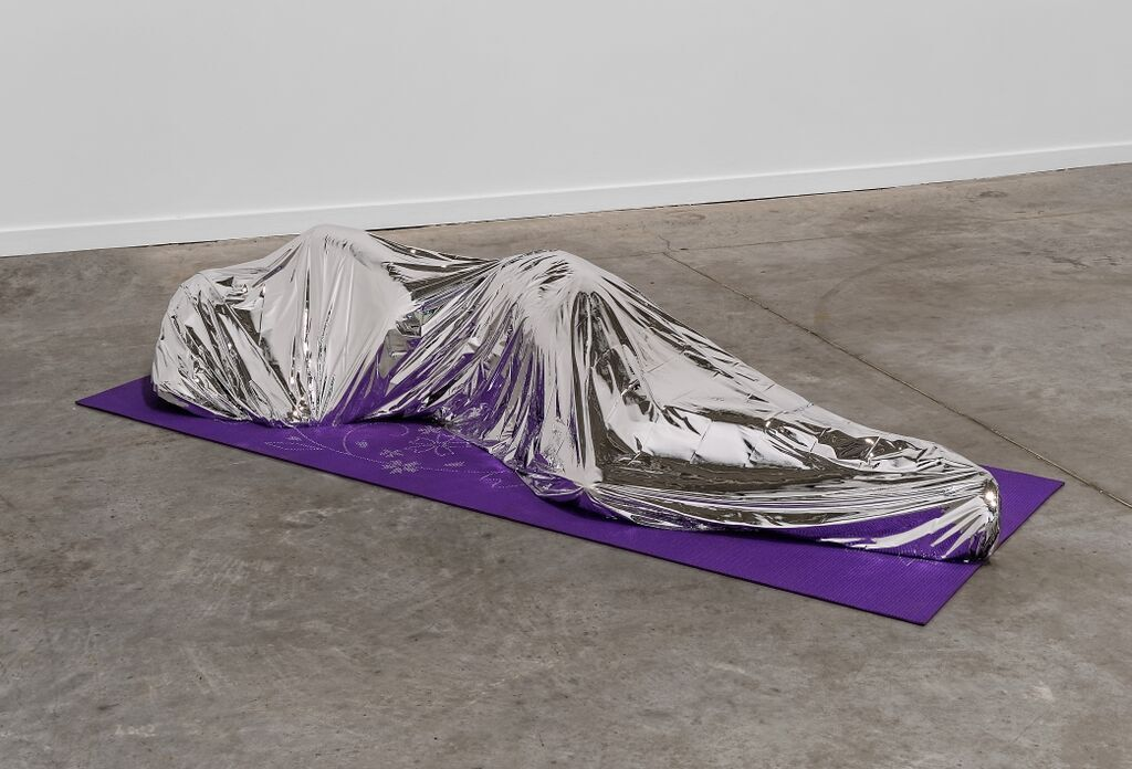 "Klaus Weber, ""Emergency Blanket,"" 2015. Courtesy of the artists, Andrew Kreps Gallery New York, Herald St Gallery London, Contemporary Art Partners, and the Lyon Biennial 2015 © Blaise Adilon"