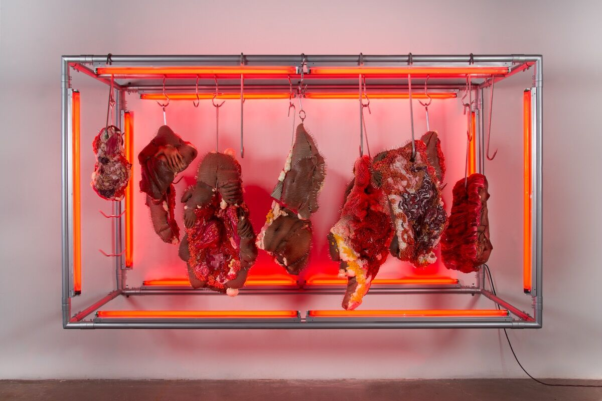 Doreen Garner, Red Rack of those Ravaged and Unconsenting, 2018. Courtesy of JTT Gallery.