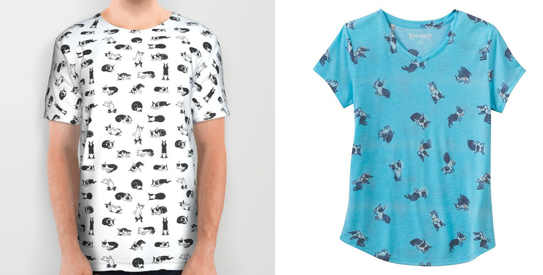 Left: A t-shirt offered for sale by Lili Chin, featuring the artist's original illustrations; Right: A t-shirt offered for sale by Kohl's, cited in the complaint as an example of infringement.