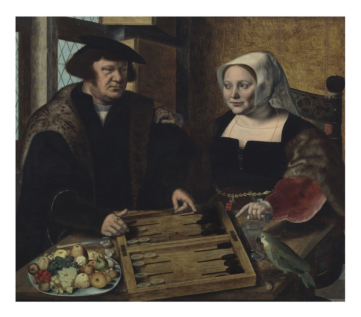 Jan Sanders van Hemessen, Double portrait of a husband and wife, half-length, seated at a table, playing tables, 1532, oil on panel. Courtesy Christie's.