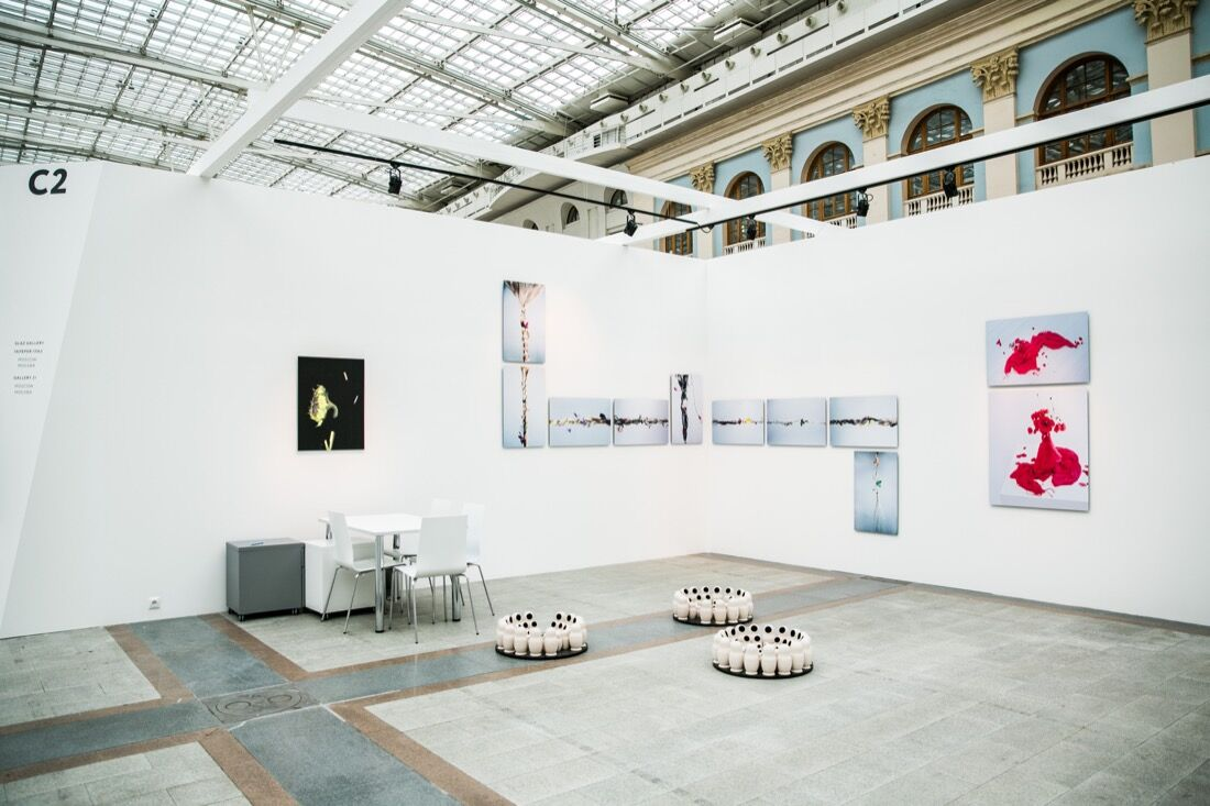 Installation view of Glaz and Gallery 21's booth at Cosmoscow, 2015. Courtesy the fair.