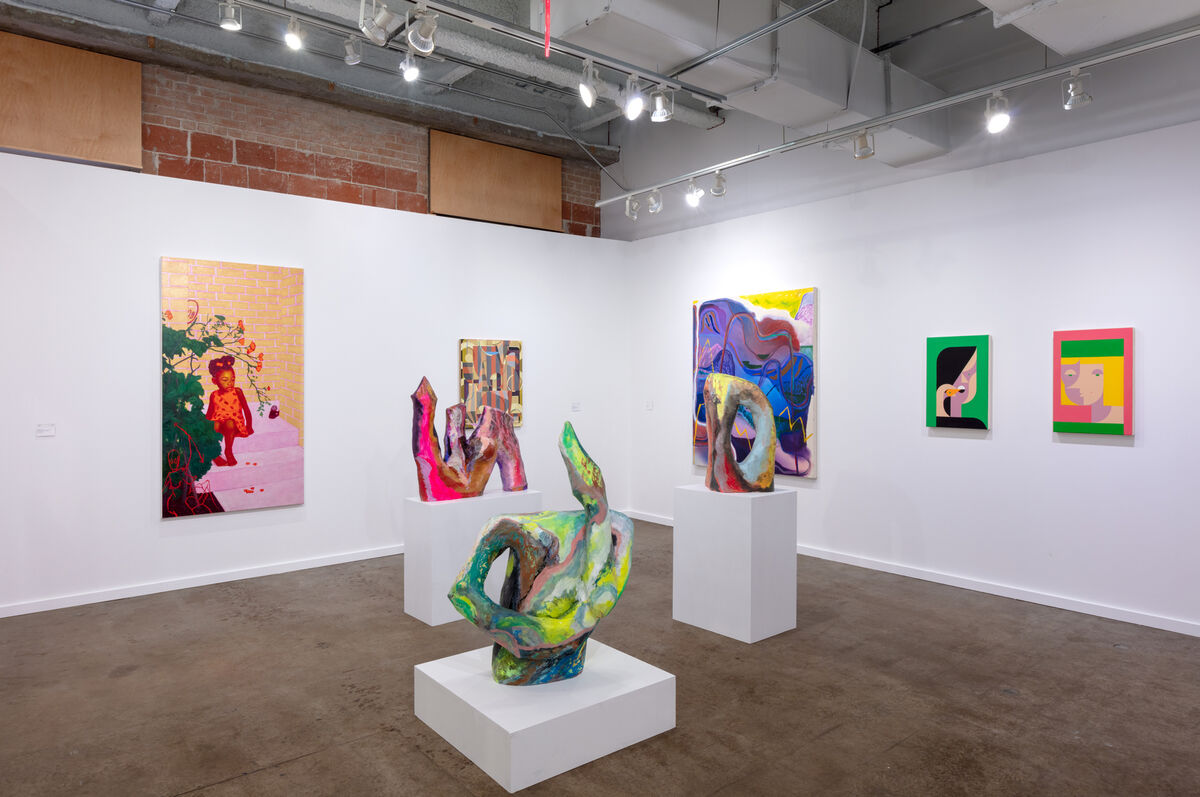 Installation view of Rachel Uffner Gallery's booth at the Dallas Art Fair, 2019. Courtesy of the Dallas Art Fair.