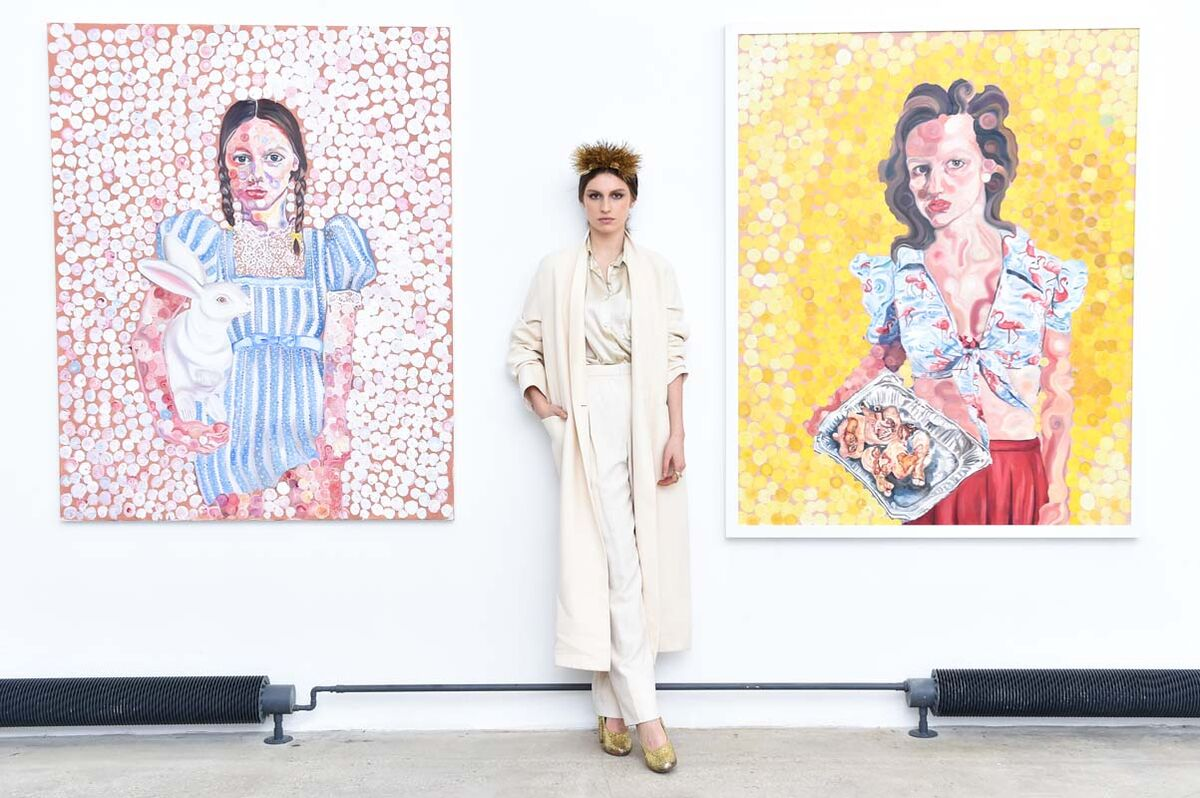 "Tali Lennox at the opening of ""Layers of Life,"" Catherine Ahnell Gallery, 2015. Photo courtesy of Billy Farrell / BFA NYC"