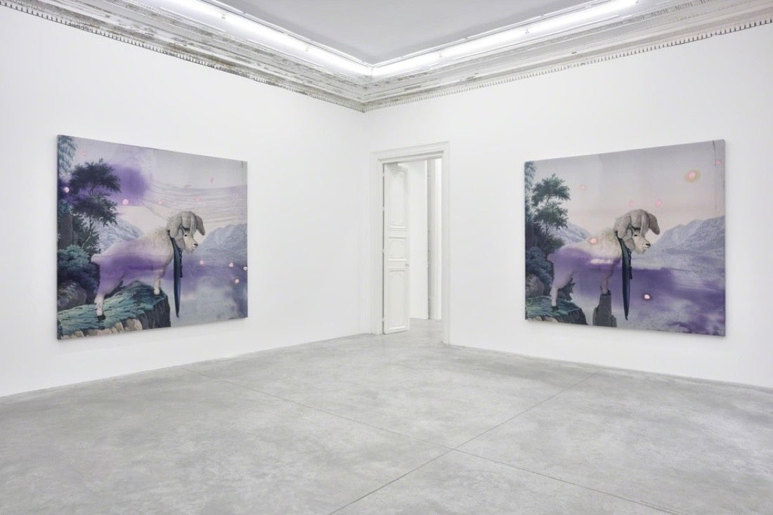 "Installation view of Julian Schnabel's ""Jack Climbed Up The Beanstalk To The Sky Of Illimitableness Where Everything Went Backwards."" Image courtesy of Almine Rech."