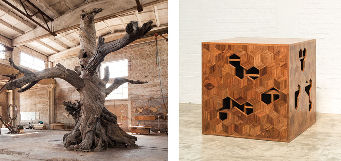 Left: Ai Weiwei, Tree, 2015. Right: Ai Weiwei, Treasure Box, 2014. Images courtesy of Mary Boone Gallery.
