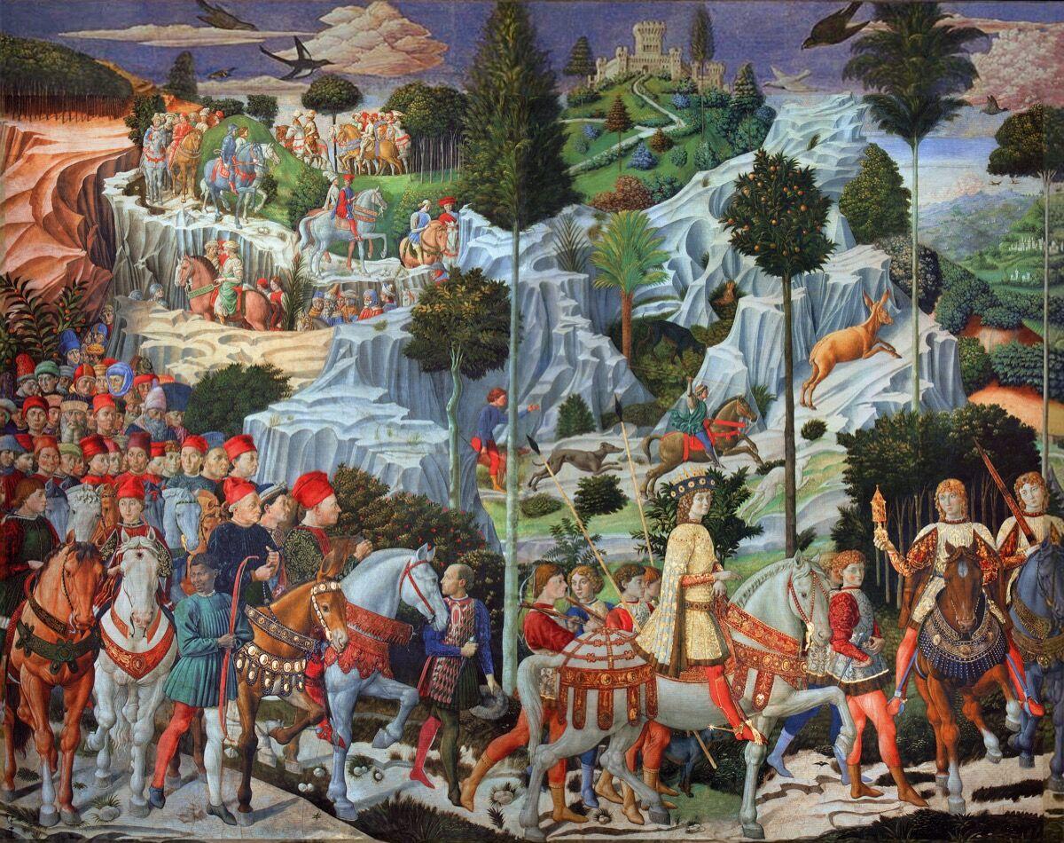 Benozzo Gozzoli, Journey of the Magi, 1459–62. Photo via Wikimedia Commons.