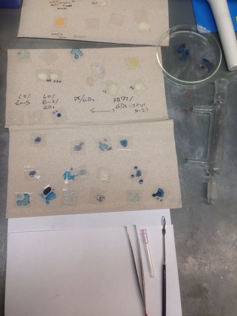 Experiments to perfect Quantum Blue. Photo by Maria Chatzidakis. Courtesy of Maria Chatzidakis.