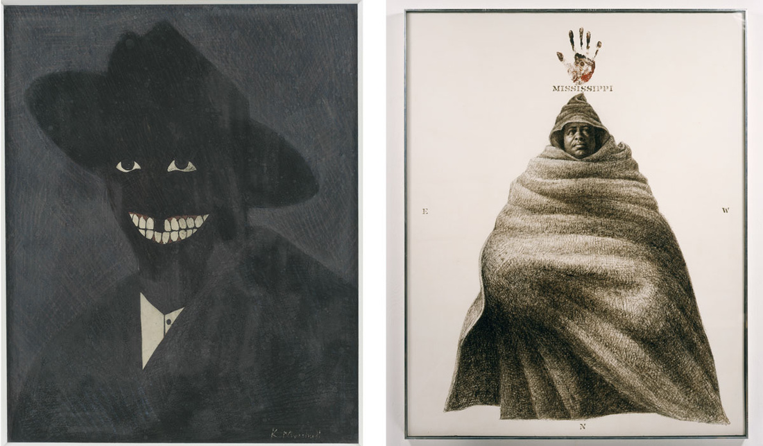 Left: Kerry James Marshall, A Portrait of the Artist as a Shadow of His Former Self, 1980. Photo by Matthew Fried, ©MCA Chicago; Right: Charles White, Mississippi, 1972.©1972 The Charles White Archives, courtesy The Charles White Archives.