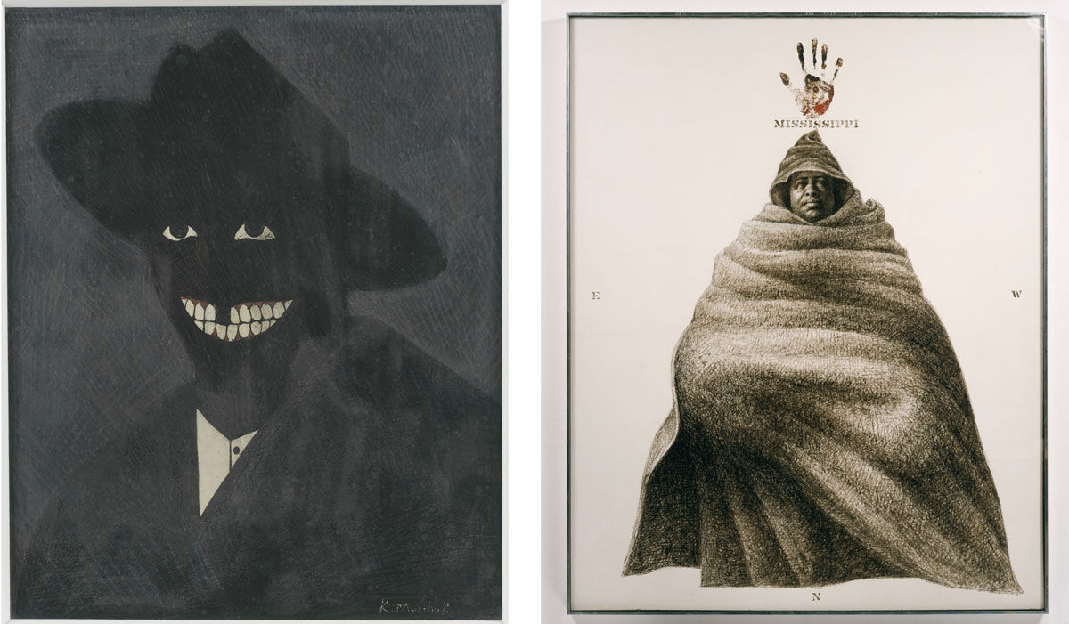 Left: Kerry James Marshall, A Portrait of the Artist as a Shadow of His Former Self, 1980. Photo by Matthew Fried, ©MCA Chicago; Right: Charles White, Mississippi, 1972. ©1972 The Charles White Archives, courtesy The Charles White Archives.