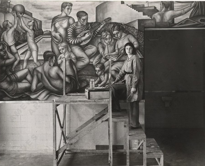 Marion Greenwood with a mural she created for the WPA. Image via Federal Art Project, Photographic Division, Smithsonian National Archives of American Art.