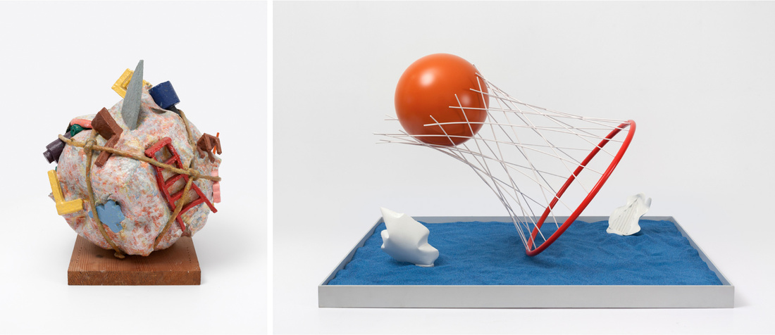 Left:Claes Oldenburg and Coosje van Bruggen,Houseball, Naoshima – Presentation Model, 1992.Right:Claes Oldenburg & Coosje van Bruggen,Proposed Sculpture for the Harbor of Stockholm, Sweden, Caught and Set Free, Model, 1998. Courtesy Paula Cooper Gallery, New York, and the artist.