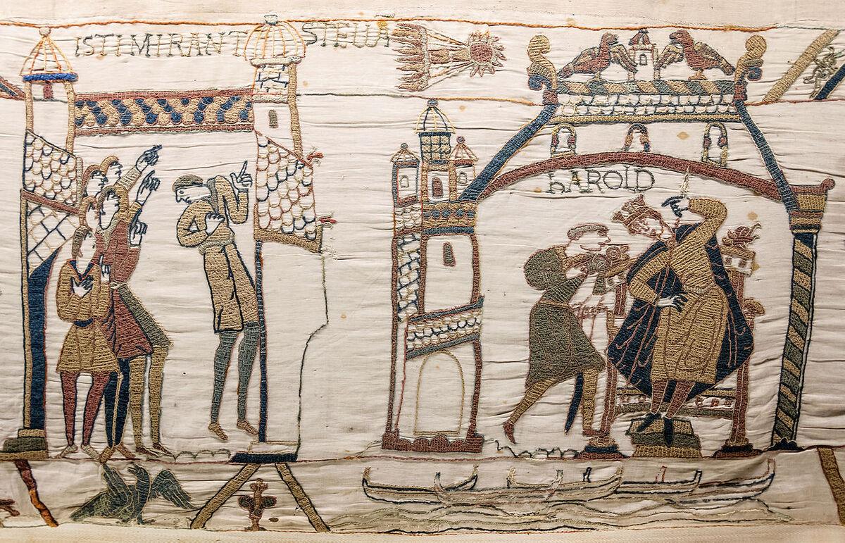 Bayeux Tapestry, ca. 11th century. Photo via Wikimedia Commons.