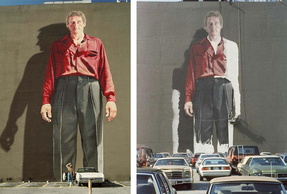 Kent Twitchell's mural of Ed Ruscha in various stages of completion. Left photo by Melba Levick. Photos courtesy of Kent Twitchell.