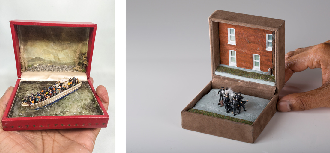 Left: Curtis Talwst Santiago, Deluge, 2015; Right: Curtis Talwst Santiago, The Execution Of Unarmed Blacks, 2014. Images courtesy of the artist.