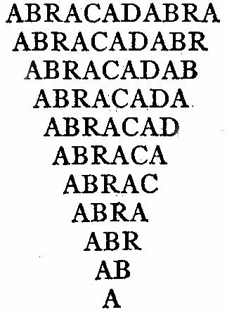 Image of Abracadabra from Encyclopedia Britannica, via Wikimedia commons.
