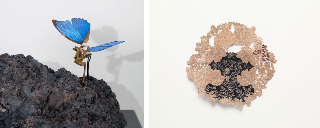 Left: Rebecca Horn, Metamorphose, 2016.© Rebecca Horn. Photo by Karin Weyrich, Germany. Courtesy of Sean Kelly; Right: Jasmin Sian, if I had a little zoo: donkey and sheep hit the woods in late Summer (forest series), 2015. Courtesy of Anthony Meier Fine Arts and the artist.