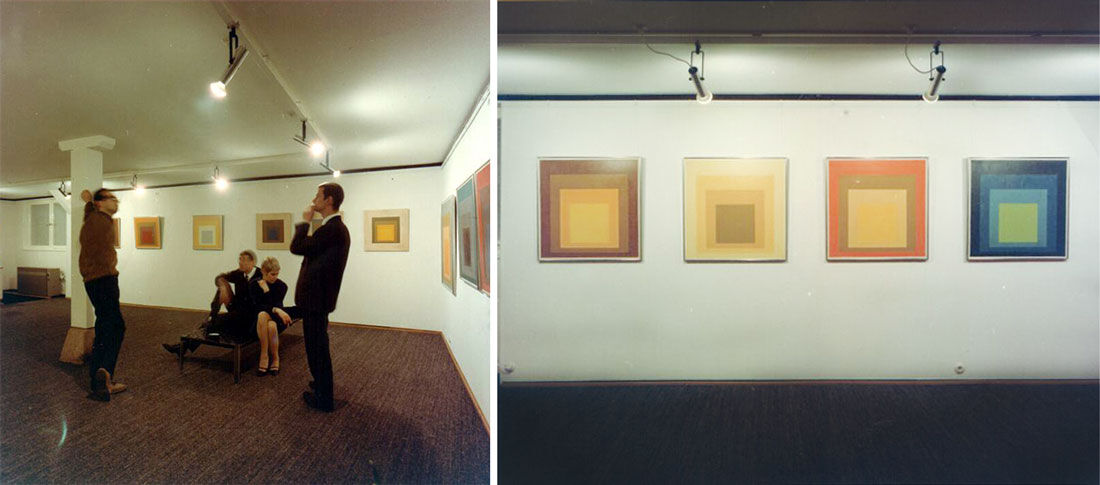 "Installation views of ""Josef Albers aus: hommage to the square und strukturale konstellationen,"" at (op)art galerie esslingen, 1965, courtesy of Galerie Hans Mayer"