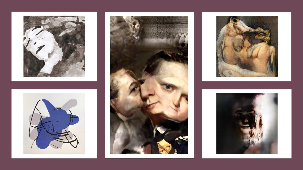 AI art generated by GAN-like process. Clockwise, from the top left: Artworks by Anna Ridler, Mario Klingemann, Robbi Barret, Mario Klingemann, Tom White. Courtesy of Ahmed Elgammal.
