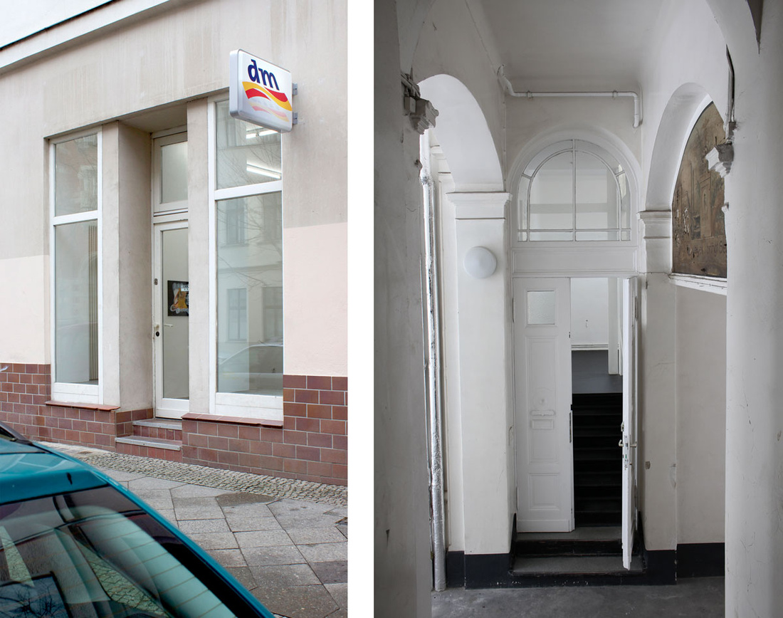 "Left: Installation view of ""Max Schmidtlein: Detox Plus,"" 2015. Image courtesy of the artist and Gillmeier Rech, Berlin; Right: Interior view ofChertLüdde, Berlin, courtesy of the gallery."