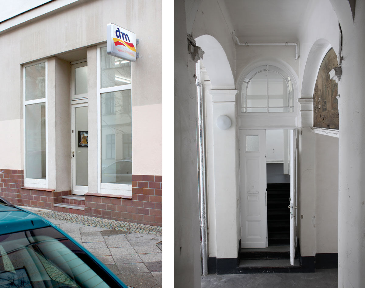 "Left: Installation view of ""Max Schmidtlein: Detox Plus,"" 2015. Image courtesy of the artist and Gillmeier Rech, Berlin; Right: Interior view of ChertLüdde, Berlin, courtesy of the gallery."