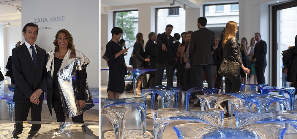 """David Gill and Zaha Hadid at""""Liquid Glacial."""" Image courtesy David Gill Gallery."""