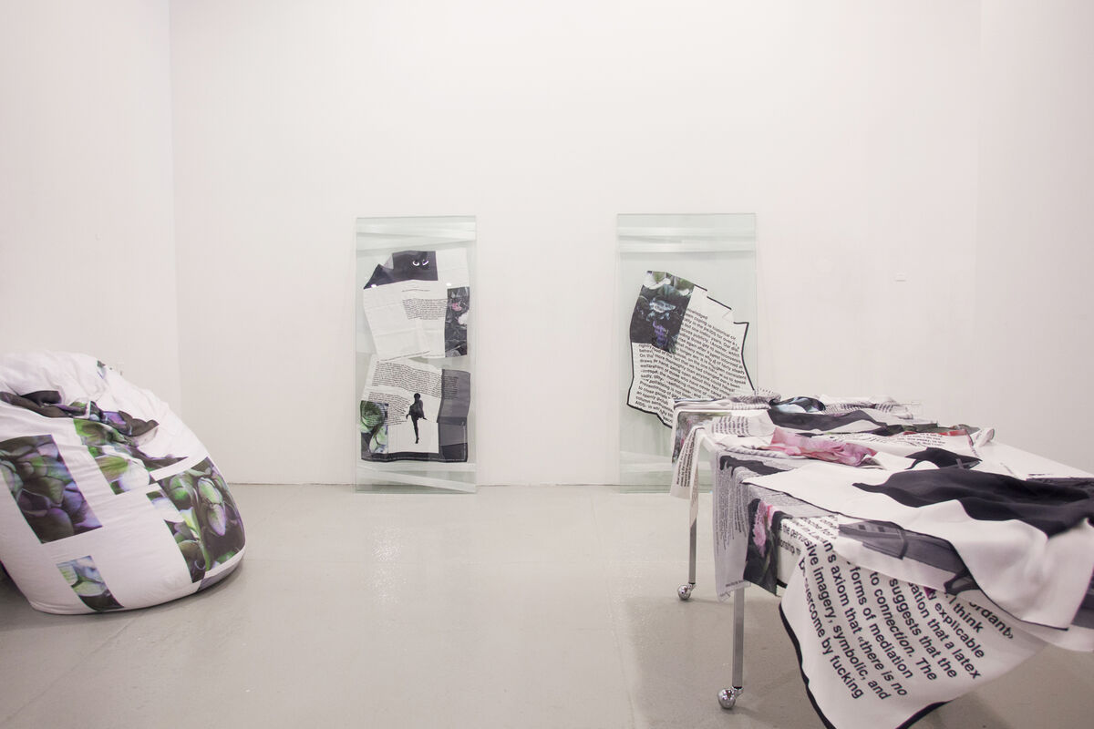 Work by Lili Reynaud-Dewar at Galerie Emanuel Layr, Independent 2015. Photo by Nick Simmons for Artsy