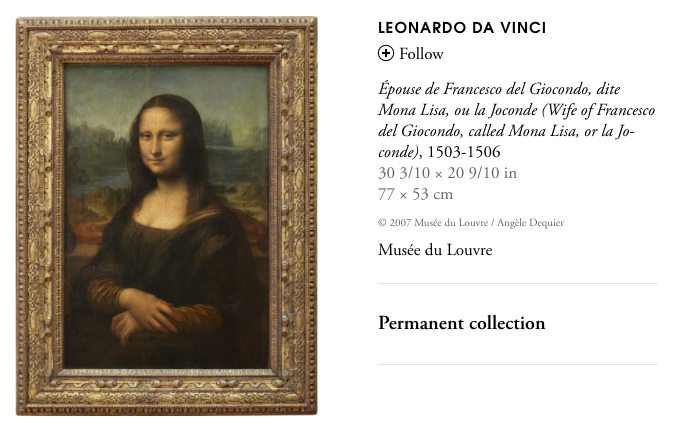 Screen capture of the Mona Lisa's page on Artsy.net. Image © 2007 Musée du Louvre / Angèle Dequier