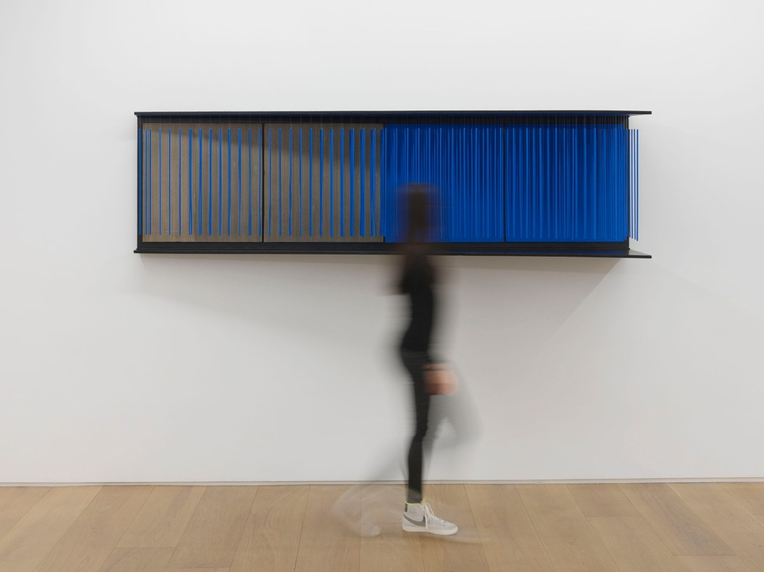 "View of the exhibition Jesús Rafael Soto ""Chronochrome"", Galerie Perrotin, New York, 2015.Jesús Rafael Soto, 'Untitled, (Mur bleu),'1966.© Jesús Rafael Soto / Artists Rights Society (ARS), New York/ADAGP, Paris, 2015.Photo: Guillaume Ziccarelli. Courtesy Galerie Perrotin."