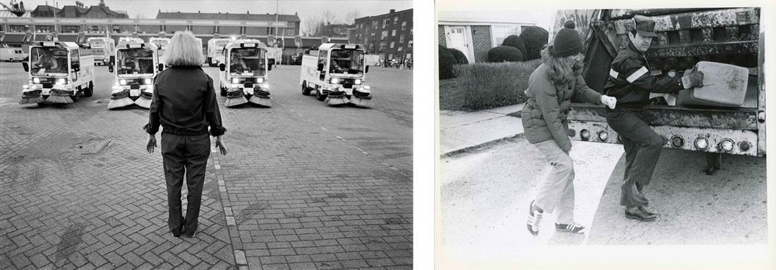 Left:Mierle Laderman Ukeles, Vuilniswagendans (City Machine Dance), May 15, 1985. Photo by Jannes Linder. Right:Mierle Laderman Ukeles, Touch Sanitation Performance, 1979-1980. Photo by Marcia Bricker. Photos courtesy of Ronal Feldman Fine Arts.