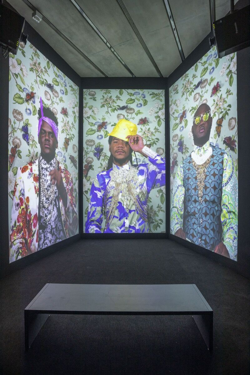 """Installation view of """"Ebony G. Patterson...while the dew is still on the roses..."""" at the Pérez Art Museum Miami. Photo by Oriol Tarridas. Courtesy of the Pérez Art Museum Miami."""
